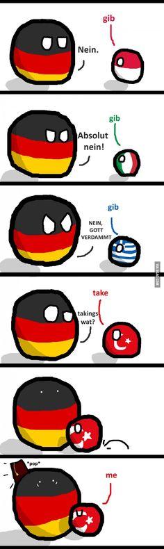 No Need For Gib ( Germany, Poland, Italy, Greece, Turkey ) Best Funny Pictures, Funny Photos, Funny Images, Hetalia Anime, History Memes, Manga Anime, Funny Comics, Funny Jokes, Hilarious