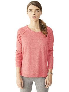 Alternative Womens Locker Room Eco-Mock Twist Pullover X-Large Eco Mock Engine Red