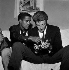 Sammy Davis Jr and Clint Eastwood, 1959.