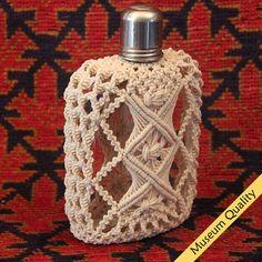 Macrame Covered Antique Flask Bottle / Top by MacrameBottles, $995.00
