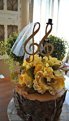 Music note wedding cake topper singer musician by MorganTheCreator
