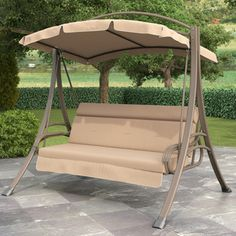 CorLiving Nantucket Beige Arched Canopy Patio Swing | Overstock™ Shopping - Great Deals on CorLiving Hammocks/Swings
