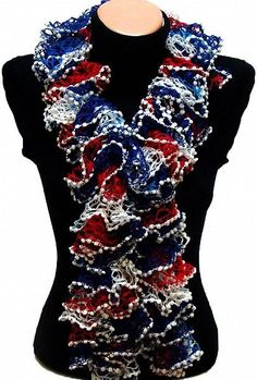 Independence Day Special Hand knitted Navy White Red ruffled scarf special for independence day $19.89