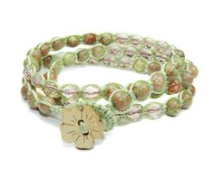 Autumn  Jasper and Pink crystal Macrame Triple Wrap by GemsdeVine, $29.99