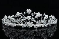 Handmade Rhinestone Crystal Flower Beads Pearl Bridal Wedding Tiara Crown by… Bridal Crown, Bridal Tiara, Bridal Headpieces, Pearl Bridal, Boho Bridal Hair, Bridal Hair Pins, Diy Tiara, Venus Jewelry, Headband Styles