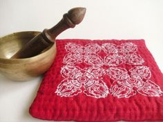 Large Linen Buddhist Dorje /Vajra altar mat, meditation bell / singing bowl mat, sacred space, hand printed and quilted red & white cushion by GaneshasRat on Etsy