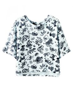Vintage Pattern Print Loose Fit T-shirt