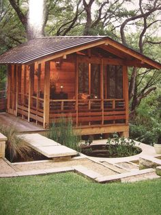 This is one of the most beautiful little buildings I can conceive of. I want to draw and drink hot tea out here in the pouring rain, listen to it splashing on the ponds... (I found this picture in a gardening magazine one time. I don't know which magazine, didn't take a picture of the credits, just the hut.)