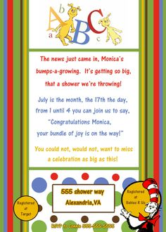 Dr Seuss Baby Shower Invitation.   This would be perfect for my shower, as this is my nursery theme