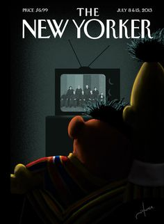 "Moment of Joy. Bert and Ernie Celebrate Gay Marriage - The New Yorker.  ""It's amazing to witness how attitudes on gay rights have evolved in my lifetime,"" said Jack Hunter, the artist behind next week's cover, ""Moment of Joy."" Hunter, who originally submitted his image, unsolicited, to a Tumblr, continued, ""This is great for our kids, a moment we can all celebrate."""