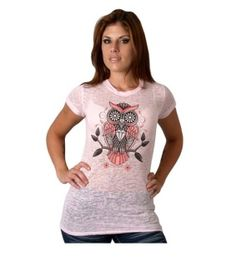 Ladies Sugar Owl Tattoo Style Design.  Bright screen print on front and sleeves showing a tattoo style sugar owl.  Pink colored burnout semi-see through classic cut tee.