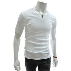 (GTS09-WHITE) Slim Fit Leather Patched V-neck Short Sleeve Tshirts