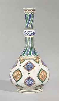 A LARGE IZNIK POTTERY BOTTLE  OTTOMAN TURKEY, CIRCA 1580-85  - The body of bulging shape stretching towards a long narrow neck, a ring encircling the halfway up before flare towards the neck, the body is decorated with a lattice mandorlas red and blue scales, alternatively hemmed green and red, surrounded top and bottom of a Greek frieze, the neck is decorated with blue and green tabs spiral   Height: 42 cm. (16.17 / 32 in.)