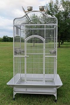 New Large Wrought Iron Open/Close Dome Play Top Bird Parrot Cage, Include Metal Seed Guard W D x H White Vein). Elegant created press parrot confine with non poisonous powder covered complete safe for bird. Bird Cages For Sale, Large Bird Cages, Parrot Toys, Parrot Bird, Parrot Cages, Parrot Flying, Macaw Cage, Finch Cage, Pet Bird Cage