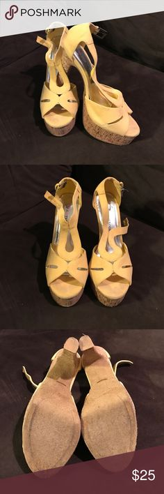 Yellow JustFab Heeled Sandles Suede-feeling straps. Five inch heel with one inch platform. Worn once. Size 8.5. JustFab brand. Adjustable ankle strap. From non-smoking home. JustFab Shoes Heels