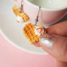 Heart Waffle Earrings With Whipped Cream And Strawberry/ Food Earrings/ Waffle Jewelry/ Kawaii Earrings/ Dessert Earrings/ Gift For Girls Polymer Clay Art, Polymer Clay Jewelry, Tiny Food, Stainless Steel Earrings, Miniature Food, Gifts For Girls, Whipped Cream, Waffle, Etsy Store