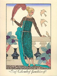Illustration by George Barbier, Les Colombes Familieres (1920)