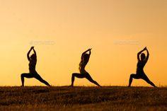 Yoga Warrior Pose - Stock Photo - Images