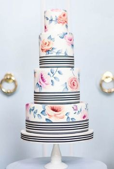 Four-tiered hand-painted vintage floral wedding cake | Bobbette & Belle