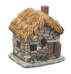 Darling Stone Cottage Light Up LED House for your Fairy Garden with thatched roof Brand new Polystone item by Ganz So cute and fun to add to your miniature fantasy garden ~ makes a great gift too! 6""