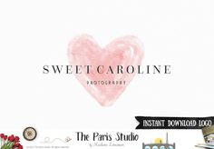 Instant Download Logo Photoshop Logo Watercolor Heart Logo