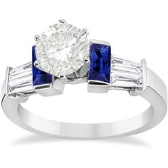 Allurez Baguette Blue Sapphire & Diamond Engagement Ring 14k White... (5,645 BAM) ❤ liked on Polyvore featuring jewelry, rings, white gold, white gold engagement rings, engagement rings, blue sapphire white gold ring, 14k engagement ring and blue sapphire engagement rings