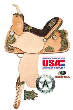 American Saddlery Camo Racer Saddle 773 - Barrel Racing Saddle - Western Horse Saddles