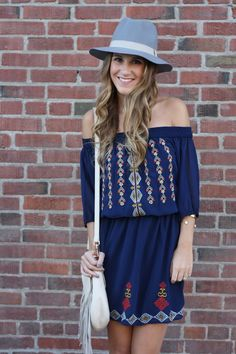 Embroidered off the shoulder dress - Twenties Girl Style