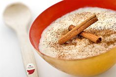 Risgrynsgröt (rice porridge)  This is a rice pudding served with milk, sugar and cinnamon.  Traditionally one single almond would be hidden in the pudding and the person said to find it is either the next person to wed or will find good fortune in the coming year. Rice porridge is served on Christmas Eve both to family members and, traditionally, as an offering to the Tomte, a beneficent but touchy household spirit.