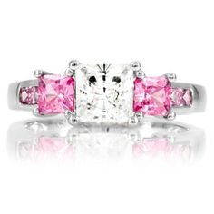 Staci's Promise Ring - Pink & Clear Princess Cut CZ Emitations. $49.00