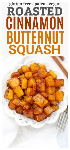 Roasted Cinnamon Butternut Squash - such an easy fall side dish! Perfect for Thanksgiving! Veggie Recipes, Baby Food Recipes, Fall Recipes, Vegetarian Recipes, Butternut Squash Side Dish, Vegan Roast, Allergy Free Recipes, Clean Eating Recipes, Healthy Eating