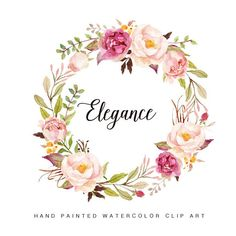 Watercolor flower wreath clipart- Elegance ::::::What do you get?:::::: 2 Watercolor Flower wreath x Format: PNG with transparent background/JPEG with white background ::::::How can you open and edit the files?:::::: You can use Photoshop to Art Floral, Frame Floral, Flower Frame, Flower Art, Floral Design, Design Design, Watercolor Flower Wreath, Floral Watercolor, Painting Flowers