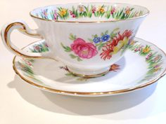 Royal Chelsea Tea Cup and Saucer, English Bone China Cups, Tea Party, Antique Teacups, Tea Set, Daffodil Cups, Jonquil Rose Cups