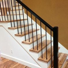 black metal with hickory staircase balusters - Google Search