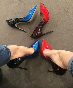 Black red blue pumps, arches, and toe cleavage