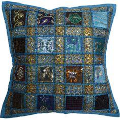 40,6 cm recyclé sari indien Housse de coussin 40 cm marocain Aqua: Amazon.fr…