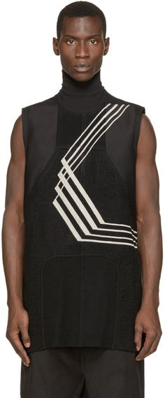 Sleeveless twill tunic in black featuring optic abstract embroidery in pale grey. Rib knit turtleneck collar. Tonal wool knit paneling at front. Vented at back hem. Unlined. Tonal stitching.