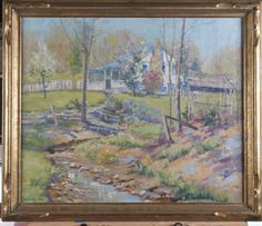 OIL ON CANVAS TITLED SPRING COMES TO OUR HOUSE, BY LEOTA W. LOOP 34 IN. X 29 IN.