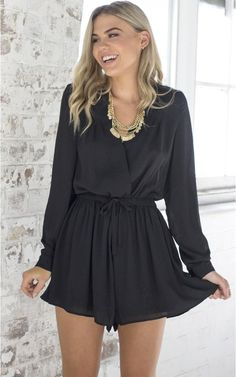 Little Black Chiffon Long Sleeve Playsuit