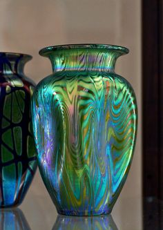 A Loetz blue and green vase, c.1900. Loetz was an Art Nouveau - Bohemian art glass manufacturing company, founder by Johann Loetz in c.1840, located in what is now the Czech Republic.  ~ {cwlyons} ~ (Photographer of image: Tony Abbate, via flickr)