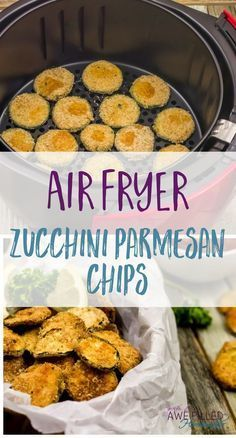Air Fryer Zucchini Parmesan Chips I have a new kitchen gadget love! The Air Fryer! Y'all are missing out if you don't have one! Check out my Zucchini Parmesan Chips! via Awe Filled Homemaker Air Fryer Zucchini Parmesan Chips Parmesan Chips, Zucchini Parmesan, Fried Zucchini, Air Frier Recipes, Air Fryer Oven Recipes, Air Fryer Recipes Gluten Free, Air Fryer Recipes Potatoes, Air Fryer Recipes Appetizers, Air Fryer Recipes Breakfast