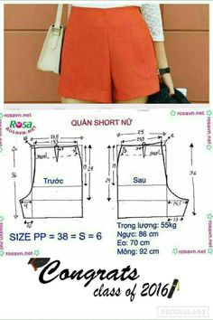 Sewing pants pattern costura Ideas for 2020 Dress Sewing Patterns, Sewing Patterns Free, Clothing Patterns, Sewing Shorts, Sewing Clothes, Fashion Sewing, Diy Fashion, Costura Fashion, Diy Kleidung