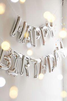 "Giant HAPPY BIRTHDAY  SILVER foil balloon  16""  gold birthday party fun decoration"