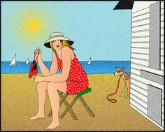 At the beach with coco. A la plage avec coco.