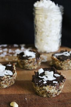 This Rawsome Vegan Life: carob caramel tarts with coconut. #Carob is a sweet and delicious plant that tastes nearly identical to chocolate - try it!
