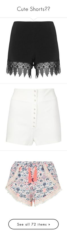 """""""Cute Shorts"""" by kellsbo18 ❤ liked on Polyvore featuring shorts, black, plus size, womens plus size shorts, woven shorts, plus size elastic waist shorts, see through shorts, plus size short shorts, white and high-waisted shorts"""