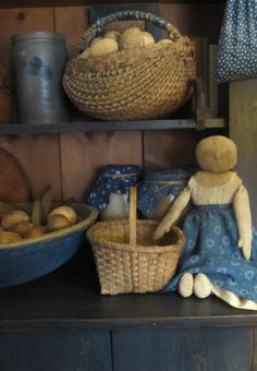 Primitive Rag Doll Early Blue Calico | eBay