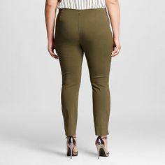 Women's Plus Size Skinny Crop Olive (Green) 18W - Who What Wear