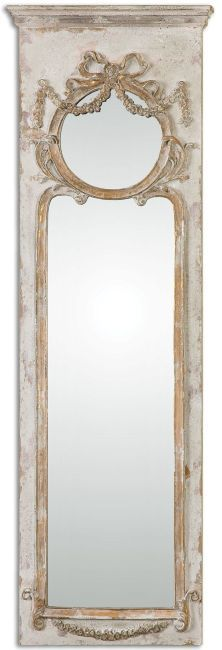 "$350 - Casella Distressed Ivory Mirror 16""x 50""H x3"".  ClassyMirrors.com"