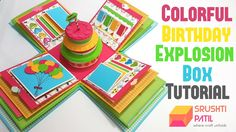 4 Layered Colorful Birthday Explosion Box Tutorial by Srushti Patil Birthday Explosion Box, Birthday Box, Explosion Box Tutorial, Origami Cards, Kids Pop, Colorful Birthday, Up Book, Exploding Boxes, Card Making Tutorials